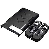 Leoie - Funda protectora de aluminio antiarañazos antiderrapante a prueba de golpes y polvo para consola de Nintendo Switch y asas, Negro