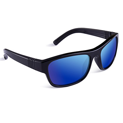 SEEKWAY Kid's Polarized Silicon Rubber Sunglasses For Toddlers Children Age 3-10 SRK827(Black&Black,Blue Iced Lens)