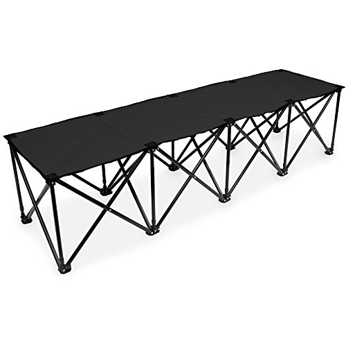 6-Foot Portable Folding 4 Seat Bench by Crown Sporting Goods (Black)