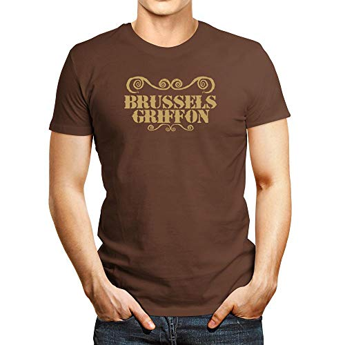 Idakoos Brussels Griffon Ornaments Urban Style T-Shirt Brown