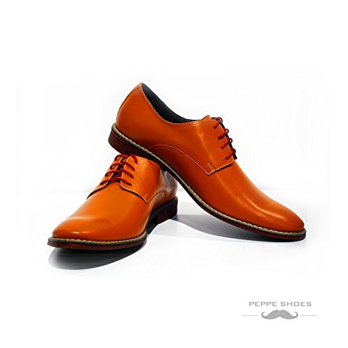 413d661f2ac Modello Tivoli - Handmade Italian Mens Orange Oxfords Dress Shoes - Cowhide  Smooth Leather - Lace