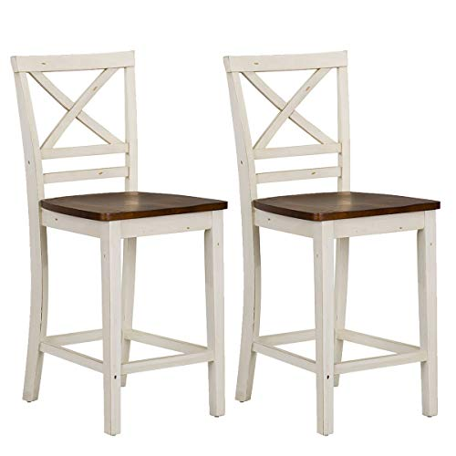 Standard Furniture Amelia 2-Pack Counter Height Chair, White,Brown (Amelia Stool Bar)