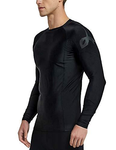 (LAFROI Men's Long Sleeve UPF 50+ Baselayer Skins Performance Fit Compression Rash Guard (BLK Print, XL))