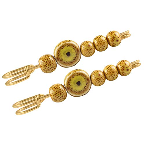 (2pcs Lovely Acrylic Beads Safety Pin Brooch Scarf Cardigan Sweater Pin Clips | Color - Yellow)