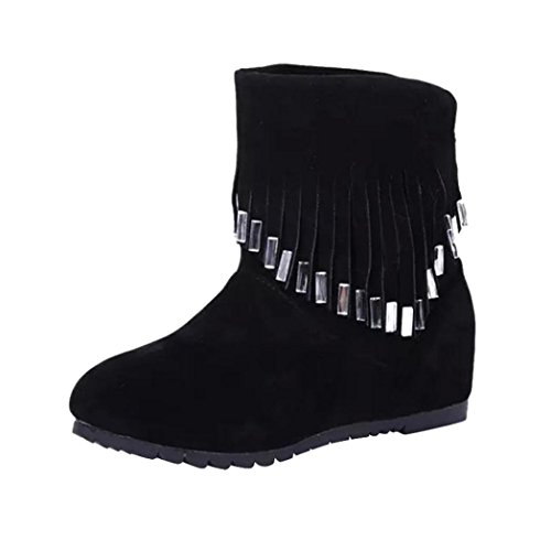 Womens Boots,Clode® Fashion Ladies Tassels Flat Ankle Winter Boots Stylish Casual Snow Boots Black
