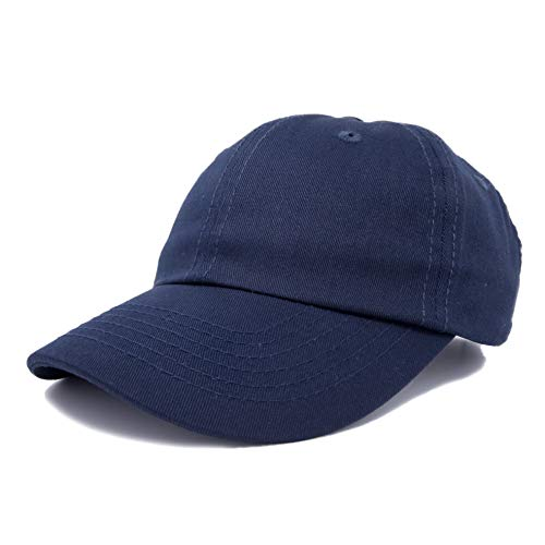 Dalix Unisex Unstructured Cotton Cap Adjustable Plain Hat, Navy Blue