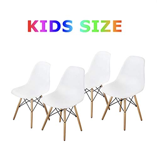 Buschman Set Four White Eames-Style Kids Dining Room Mid Century Chair Wooden Legs Armless Chairs