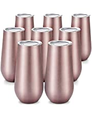 Gfhrisyty 8 Packs Stemless Champagne Flutes Wine Tumbler, 6 OZ Double-Insulated Wine Tumbler with Lids Unbreakable Cocktail Cups