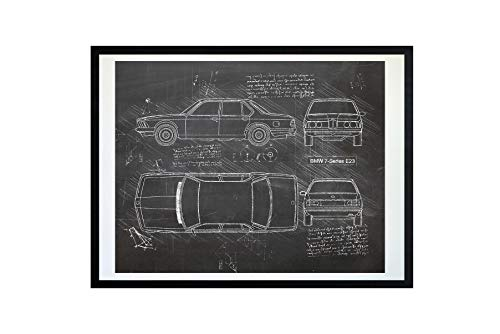 DolanPaperCo #488 BMW 7-Series E23 (1977-86) Art Print, da Vinci Sketch - Unframed - Multiple Size/Color Options (16x20, Blackboard)