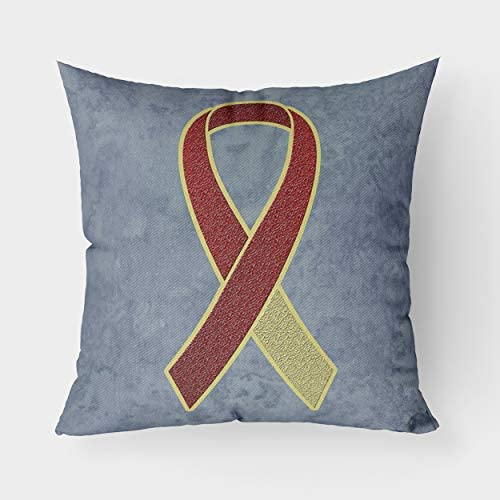 Caroline s Treasures AN1218PW1414 Burgundy and Ivory Ribbon for Head and Neck Cancer Awareness Canvas Fabric Decorative Pillow, 14Hx14W, Multicolor