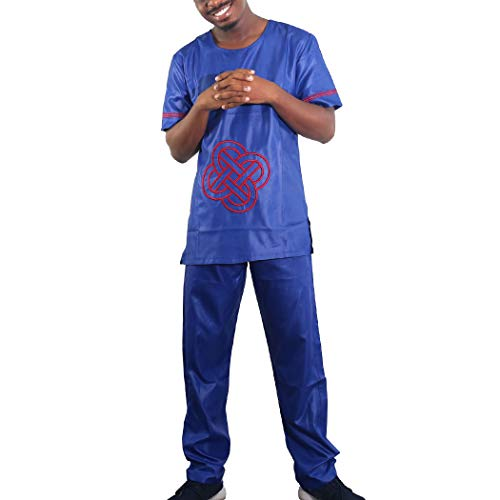 H D Couples Clothes, Bazin Riche Costume Embroidery Patternn Traditional African Tops and Pants Set for Men - Blue 3XL ()