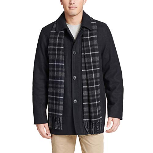Dockers Men's Big and Tall Big & Tall Weston Wool Blend Car Coat with Scarf, Navy 4X