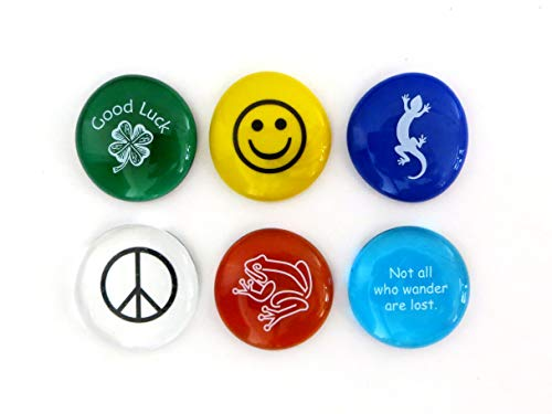 Lifeforce Glass Geocache Swag, Glass Stones with Fun Images to Leave in the Cache.Set of Six