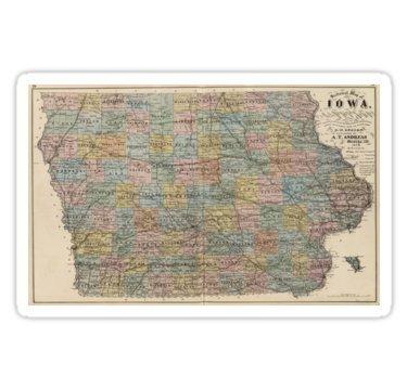 - Vintage Map of Iowa (1875) - Sticker Graphic Bumper Window Sicker Decal - State Love Sticker