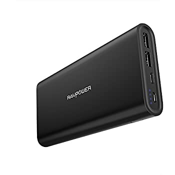Upgraded USB C Portable Charger 26800 RAVPower 26800mAh Dual Input Port Battery Pack (iSmart 2.0, 5V/3A Type-C Port Power Bank) External Phone Charger for iPhone, iPad, Galaxy and New MacBook