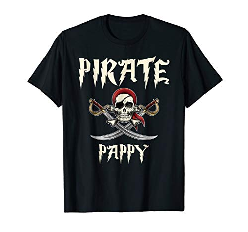 Pirate Pappy Funny Skull Adult Gift Halloween Tshirt