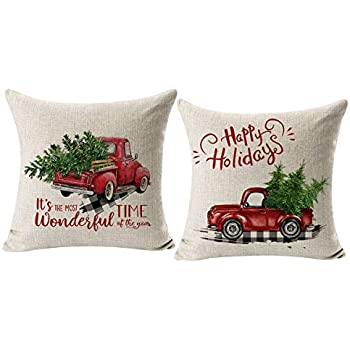 CARRIE HOME Red Truck Christmas Decor Outdoor Christmas Throw Pillow Covers 18x18 for Home Car Office, Set of 2