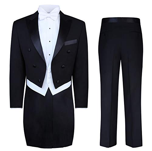S.H. Churchill & Co. Black Tailcoat Tuxedo & Tuxedo Pants - 44 Regular -