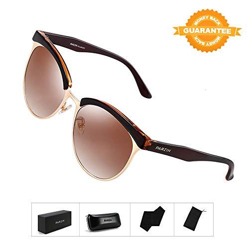 78a623d473b74 Polarized Sunglasses Semi Rimless PARZIN Women Vintage Cateye Eyewear