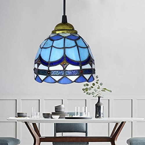 - Stained Glass Tiffany Style Plug in Hanging Pendant Light Ceiling Lighting Lamp Fixture Stained Glass Shade Perfect Vintage Swag Ceiling Lamp for Dining Room, Bedroom or Porch