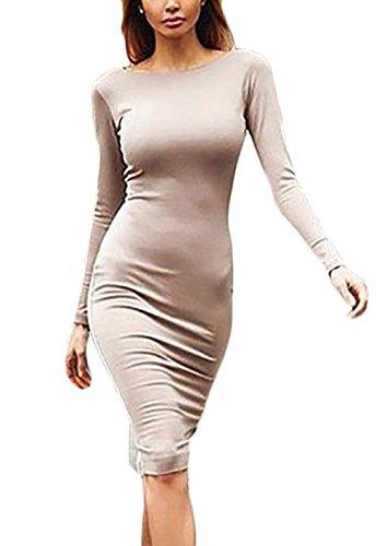 Mujer Vestidos Vestidos De Fiesta De Coctel Elegantes Manga Lindo Chic Larga Cuello Redondo Espalda Descubierta con Cremallera Slim Fit Moda Vestido Fiesta Vestido Coctel Medium Largos Apricot