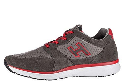 Hogan Uomo Scarpe Sneakers In Camoscio Scarpe H254 H Flock Grigio