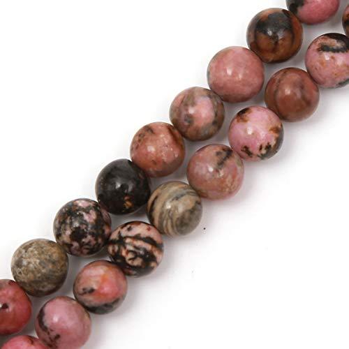 Genuine Natural Stone Beads Black Stripe Rhodochrosite Round Loose Gemstone 8mm 1 Strand 15.5