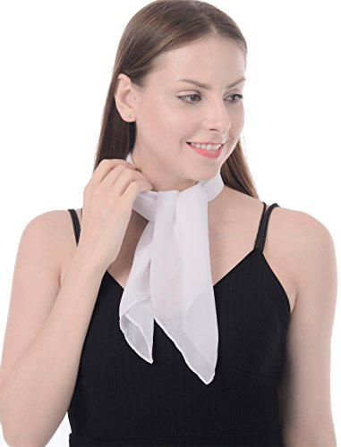 - White Scarf Bandana Neck scarf 50s Accessories Square Scarf Sheer Chiffon Scarf Handkerchief with Soft Fell Womens