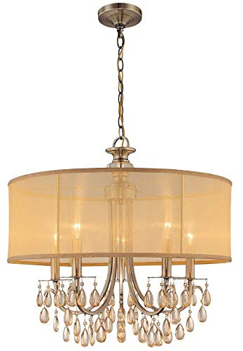 - 5625-AB Hampton 5LT Pendant, Antique Brass Finish with Gold Silk Fabric Shade and Etruscan Smooth Crystal Drops