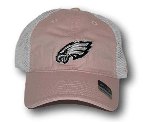 Philadelphia Eagles Women's Trucker Style Slouch Peony Pink & White Mesh Back Adjustable Hat Lid (Baseball Hat Cap Lid)