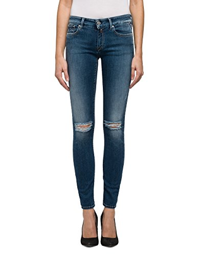 Blue Destroyed Donna Skinny Luz Blu Replay 9 mid Jeans wvaqHz