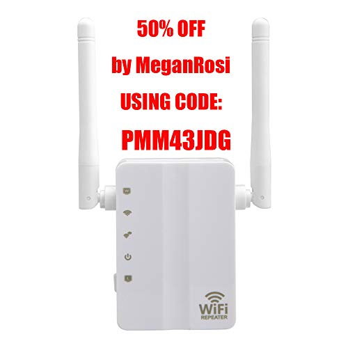 N&M Tech WiFi Extender Repeater Wireless Signal Booster Wi-Fi Long Range Router Amplifier Network High-Speed 300Mbps 2.4GHz for Home House Office 3 in 1 Repeater/Access Point/Router Mode(White)