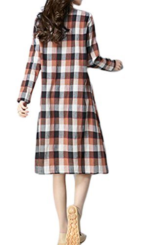 Womens With Plaid Round Pockets Neck Dress Fit Casual Maxi 1 Domple Loose H6dqzdx