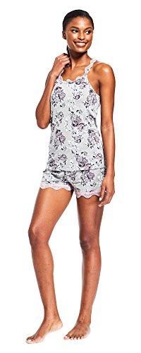 Kathy Ireland Womens 2 Piece Set Scoop Neck Tank Top Shorts Lace Trim Pajamas New Heather Grey Medium