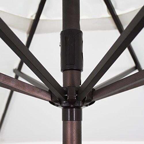 California Umbrella 9' Round Aluminum Market Umbrella, Crank Lift, Auto Tilt, Bronze Pole, Lemon Olefin