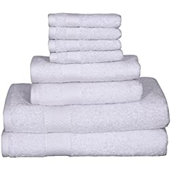 100% Cotton towels, 8 piece Towel Set - 2 Bath Towels, 2 Hand Towels, 4 Washcloths, Quick Dry, Machine washable, Hotel Quality, Soft, Absorbent (white, 8 pc set)