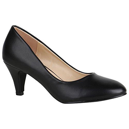 Stiefelparadies Klassische Damen Pumps Stiletto Absatzschuhe Mid Heels Party Schuhe Glitzer Abendschuhe Abiball Flandell Schwarz Avelar