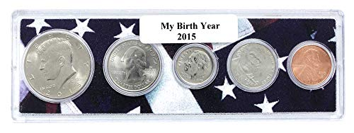 2015-5 Coin Birth Year Set in American Flag Holder - Coin Holder Set