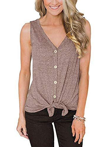 - Ritatte Womens Fashion V-Neck Button Cotton Stripe Sexy Vest Fashion Sleeveless T-Shirt (Gray, X-Large)