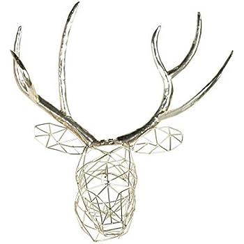 Kate and Laurel Milty Geometric Hanging Deer Head Silver Metal Wall Art