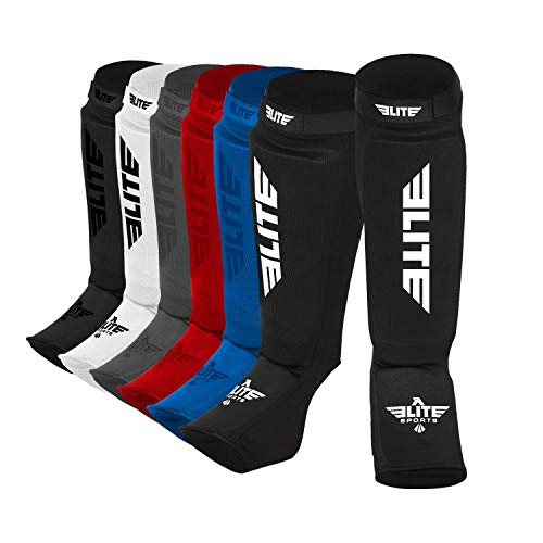 Elite Sports New Item Protective Kickboxing, MMA, Muay Thai Shin & Instep Guards Leg Pad Training Protective Gear Washable (S-M)