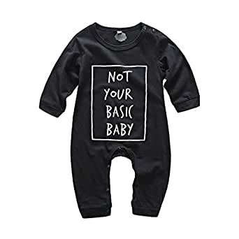 Fairy Baby Toddlers Baby Boys Girls Letter Romper Outfit Cotton Long Sleeve Footed Pajamas Size 3-6M (Black)