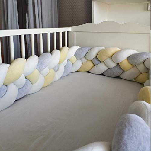 Baby Crib Bumper Chunky Knit Braided Baby Bedding Sheets Plush Nursery Cradle Decor Newborn Gift Pillow Cushion Junior Bed Sleep Bumper (4 Strands,Widening)Gray+White+Yellow 157 inch
