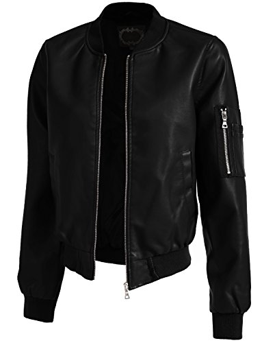 J. LOVNY Women's Basic Fitted Faux Leather Zip Up Moto for sale  Delivered anywhere in USA