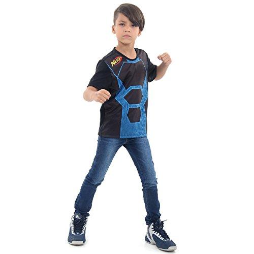 Camiseta Nerf Luxo Infantil Sulamericana Fantasias Preto/Azul G 10/12 Anos