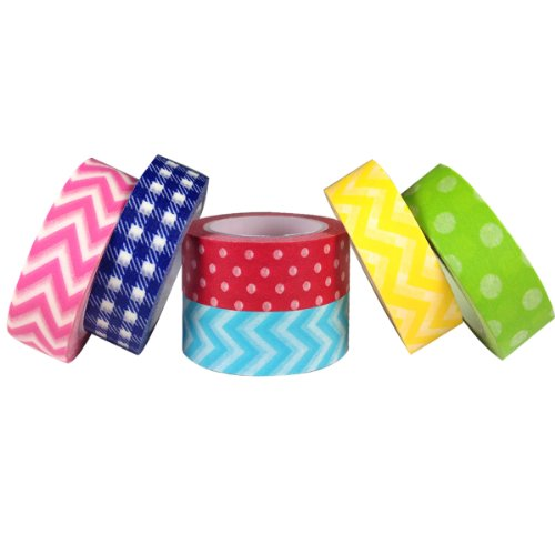 Electro Fun Chevron, Stripes & Dots Japanese Masking Tapes Washi Tapes, set 6