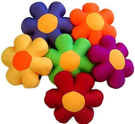 DaDa Bedding Flower Shape Micro-Bead Pillow – Groovy Squishy Soft Throw Cushion Retro Fun Cute Novelty Super Decorative – Bright Vibrant Multi Colorful Floral – Orange – 18
