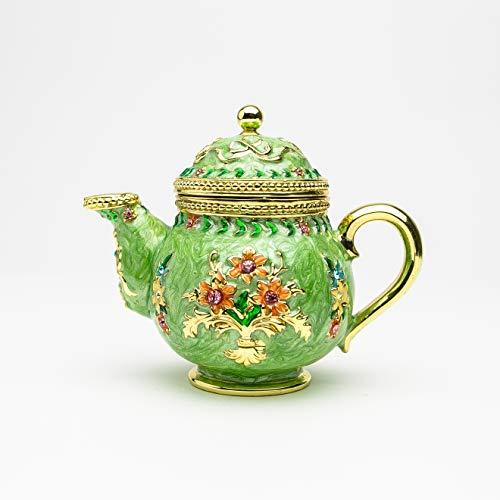 Keren Kopal Green Teapot Trinket Box Decorated with Crystals Jewelry Storage Stash Handpainted Tea Pot Figure Gift Idea for Home Decoration