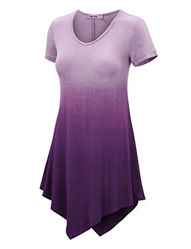 WT1051 Womens V Neck Short Sleeve Ombre Tunic Top XXXL (Ombre Dip)
