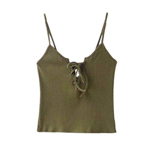 Ouneed Mujeres de punto Tops cosecha casual algodón corto Cami Tank Tops Caqui